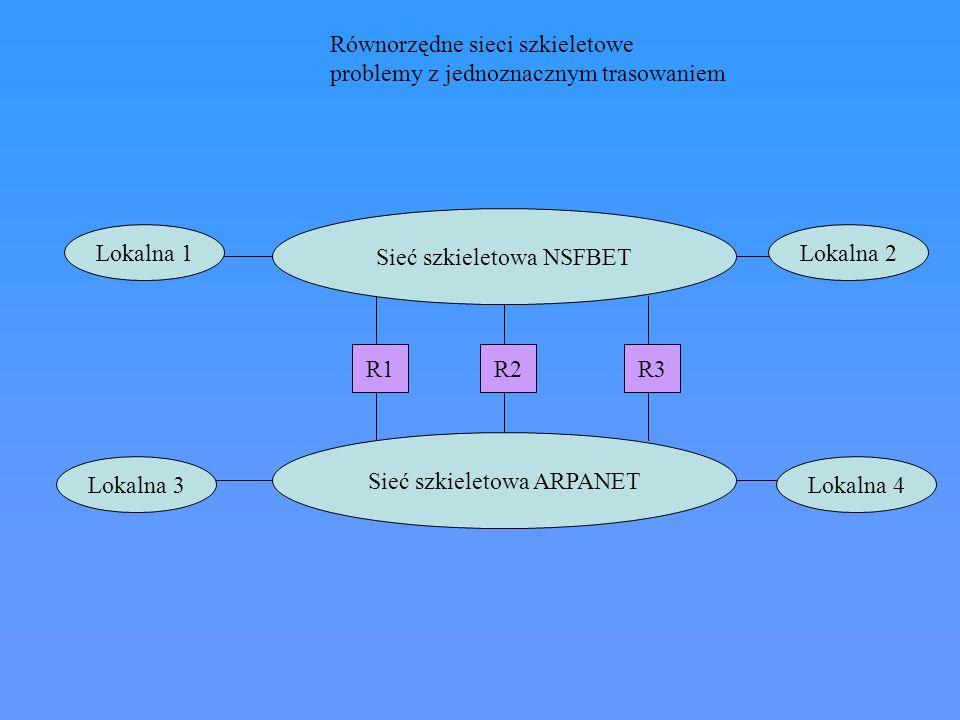 Sieć szkieletowa NSFBET Sieć szkieletowa ARPANET Lokalna 3 Lokalna 1Lokalna 2 Lokalna 4 R1R2R3 Równorzędne sieci szkieletowe problemy z jednoznacznym