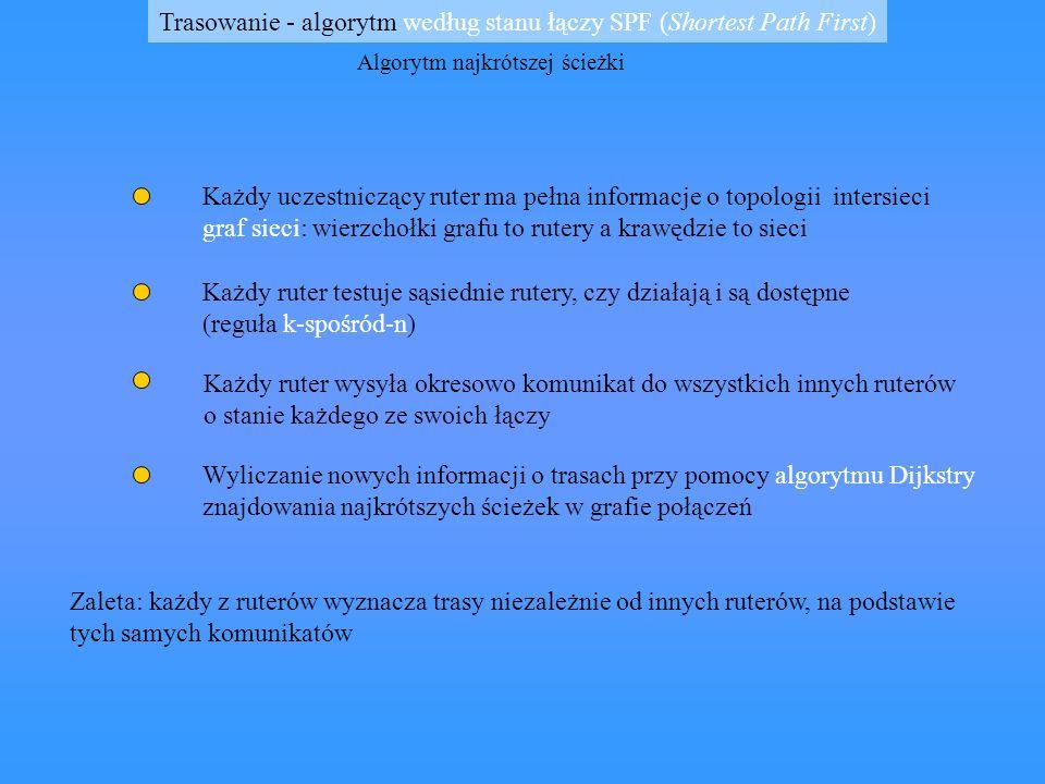 Protokół HELLO przestarzały ale używany wykorzystuje metrykę trasowania opartą na opóźnieniach a nie na liczbie etapów komunikaty Hello zawierają, oprócz informacji o trasie, znacznik czasu zasada: każda maszyna używająca tego protokołu przechowuje tablicę zawierającą oszacowanie stanów zegarów sąsiadujących z nią maszyn algorytm Hello działa podobnie jak RIP, ale maszyny do wyznaczania tras używają opóźnienia czasowe a nie etapy