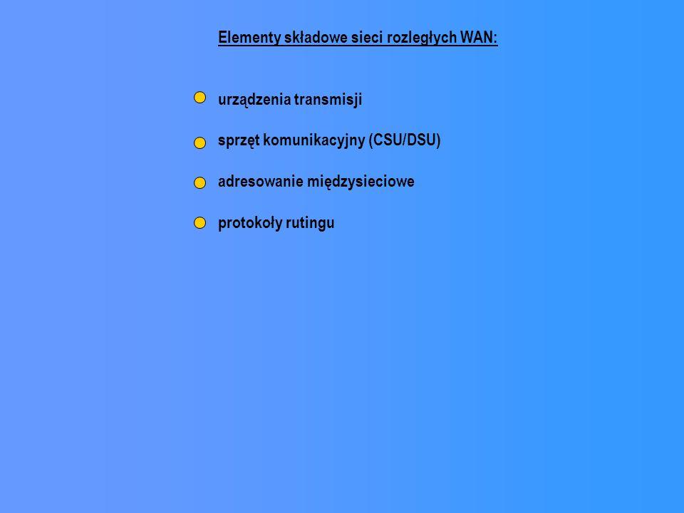 Elementy składowe sieci rozległych WAN: urządzenia transmisji sprzęt komunikacyjny (CSU/DSU) adresowanie międzysieciowe protokoły rutingu