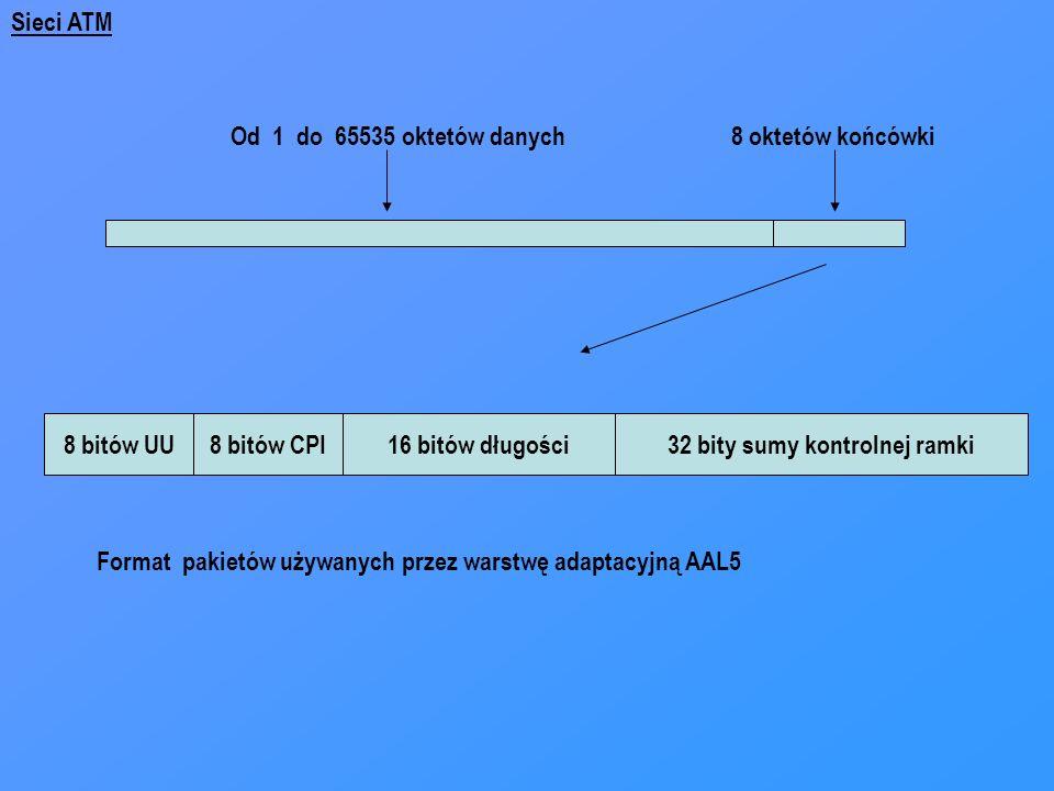 Od 1 do 65535 oktetów danych8 oktetów końcówki 8 bitów UU8 bitów CPI16 bitów długości32 bity sumy kontrolnej ramki Format pakietów używanych przez war