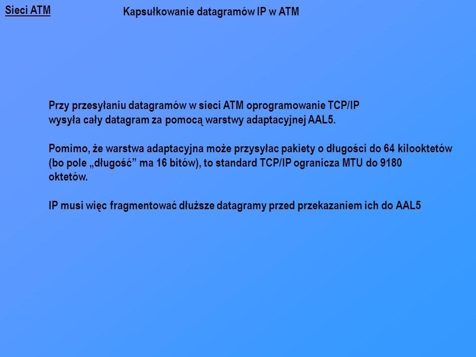 Sieci ATM Przy przesyłaniu datagramów w sieci ATM oprogramowanie TCP/IP wysyła cały datagram za pomocą warstwy adaptacyjnej AAL5. Pomimo, że warstwa a