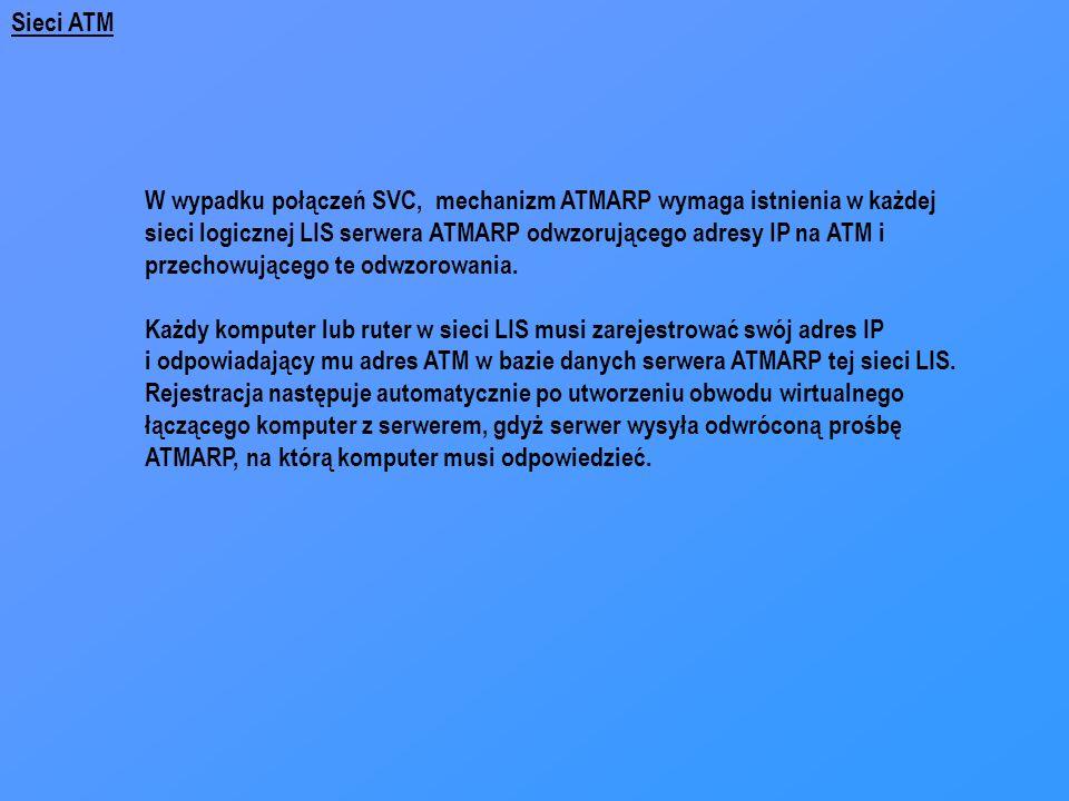 Sieci ATM W wypadku połączeń SVC, mechanizm ATMARP wymaga istnienia w każdej sieci logicznej LIS serwera ATMARP odwzorującego adresy IP na ATM i przec