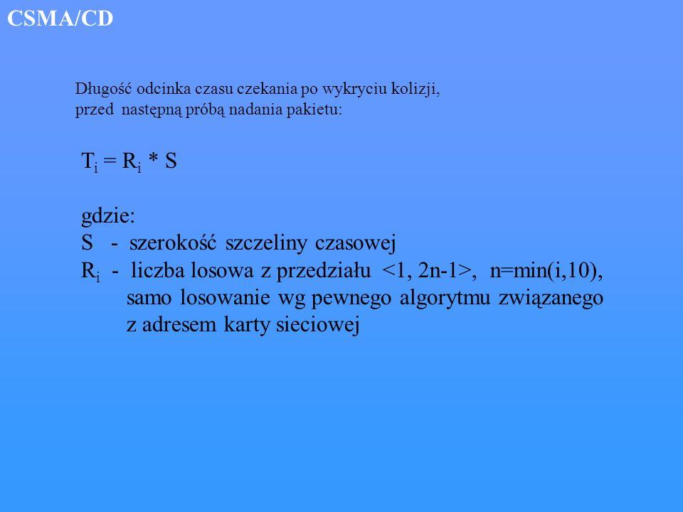 T i = R i * S gdzie: S - szerokość szczeliny czasowej R i - liczba losowa z przedziału, n=min(i,10), samo losowanie wg pewnego algorytmu związanego z