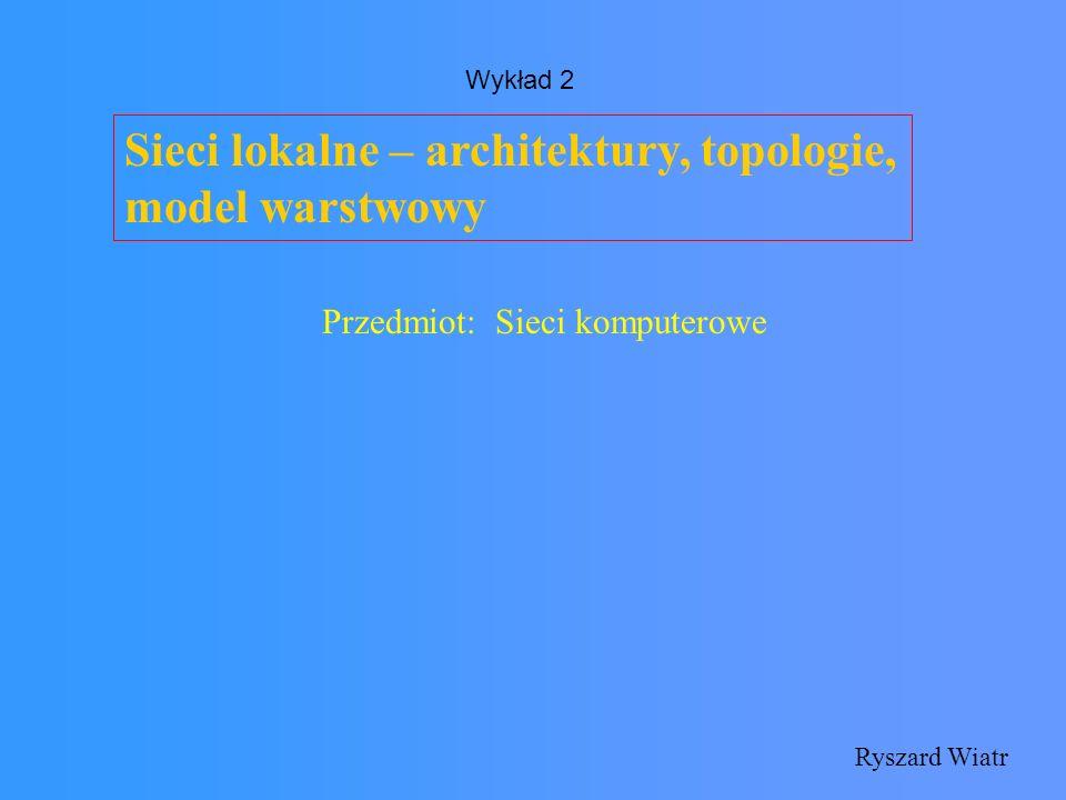 Sieci lokalne – główne pojęcia Architektura sieci – struktura sieci zdefiniowana przez zastosowane przy jej tworzeniu standardy i protokoły Topologia sieci – fizyczna konstrukcja sieci, układ nośnika sygnału - okablowania Protokół – zbiór zasad, według którego wykonywane są pewne funkcje i usługi