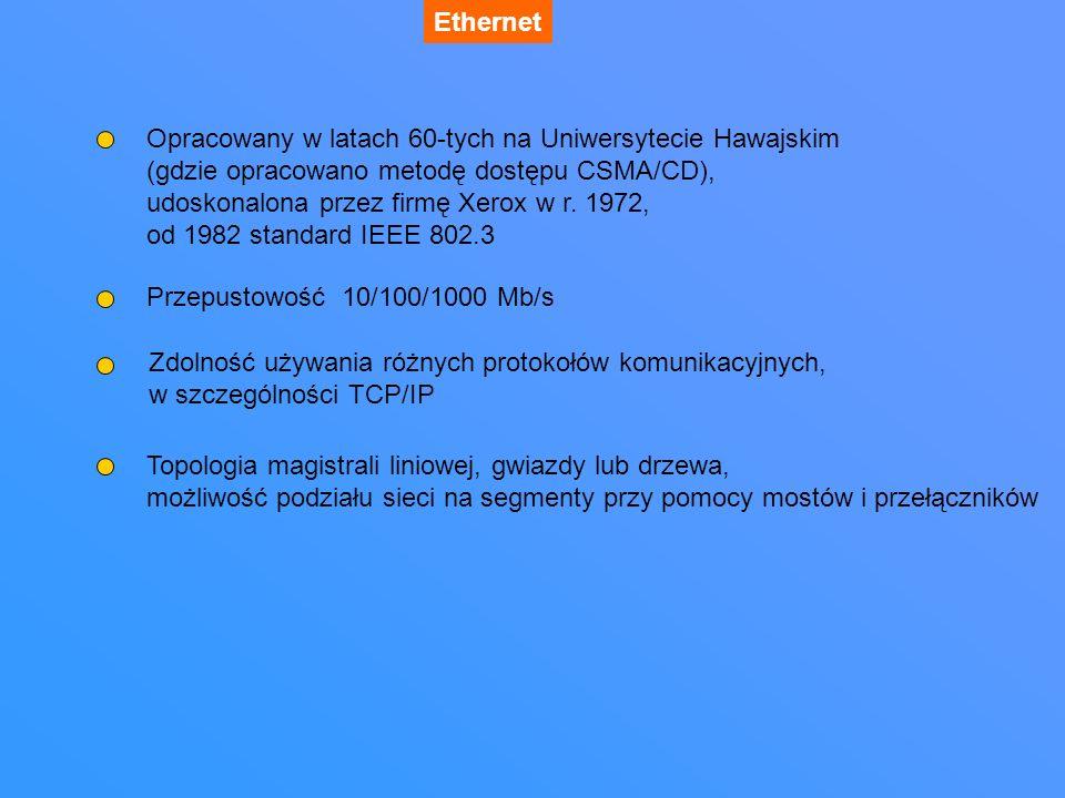 Ethernet - rodzaje okablowania 10BASE2 – cienki Ethernet maksymalna długość segmentu ok.