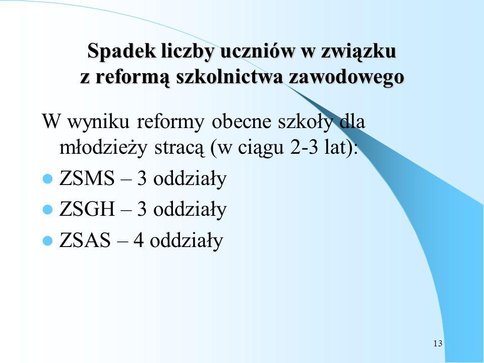 13 Spadek liczby uczniów w związku z reformą szkolnictwa zawodowego W wyniku reformy obecne szkoły dla młodzieży stracą (w ciągu 2-3 lat): ZSMS – 3 od