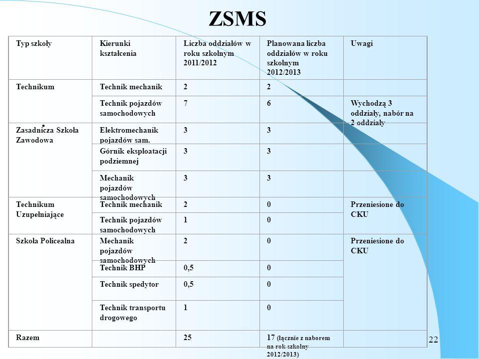 22 ZSMS. Typ szkołyKierunki kształcenia Liczba oddziałów w roku szkolnym 2011/2012 Planowana liczba oddziałów w roku szkolnym 2012/2013 Uwagi Techniku