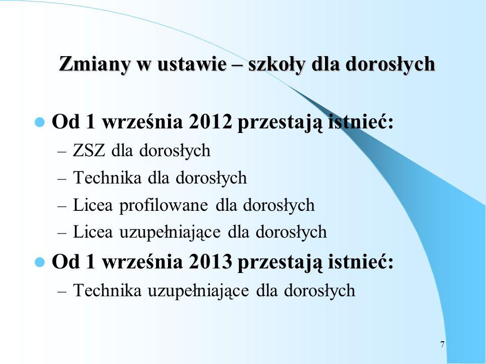 7 Zmiany w ustawie – szkoły dla dorosłych Od 1 września 2012 przestają istnieć: – ZSZ dla dorosłych – Technika dla dorosłych – Licea profilowane dla d