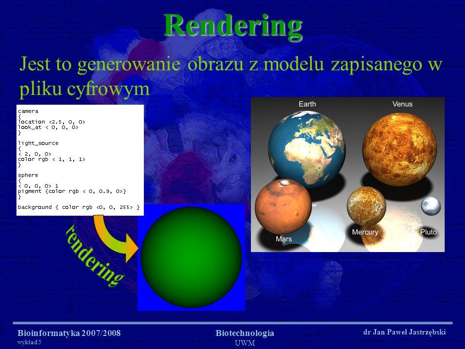 Bioinformatyka 2007/2008 wykład 5 Biotechnologia UWM dr Jan Paweł JastrzębskiRendering OpenGL, Direct3D (DirectX) są to biblioteki programistyczne składające się z zestawów funkcji instalowanych na odpowiednich platformach systemowych służące do obsługi grafiki (lub głównie grafiki).