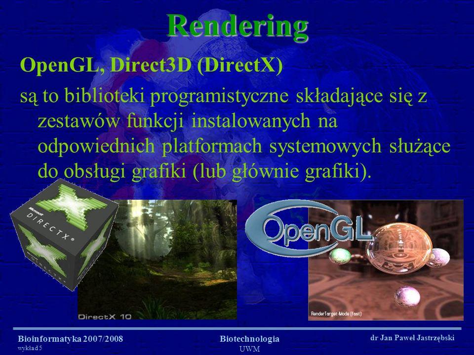 Bioinformatyka 2007/2008 wykład 5 Biotechnologia UWM dr Jan Paweł JastrzębskiRendering OpenGL, Direct3D (DirectX) są to biblioteki programistyczne skł