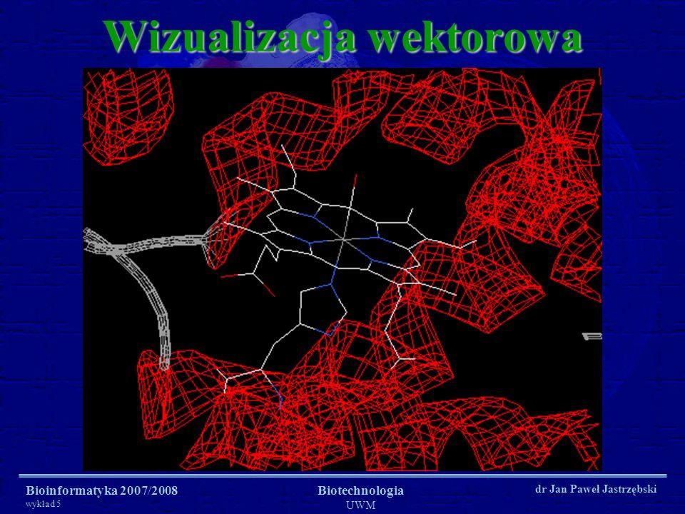 Bioinformatyka 2007/2008 wykład 5 Biotechnologia UWM dr Jan Paweł Jastrzębski Wizualizacja renderowana (OpenGL)