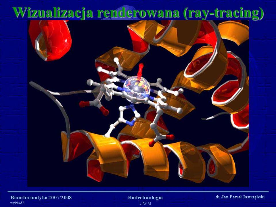 Bioinformatyka 2007/2008 wykład 5 Biotechnologia UWM dr Jan Paweł Jastrzębski Wizualizacja renderowana (ray-tracing)