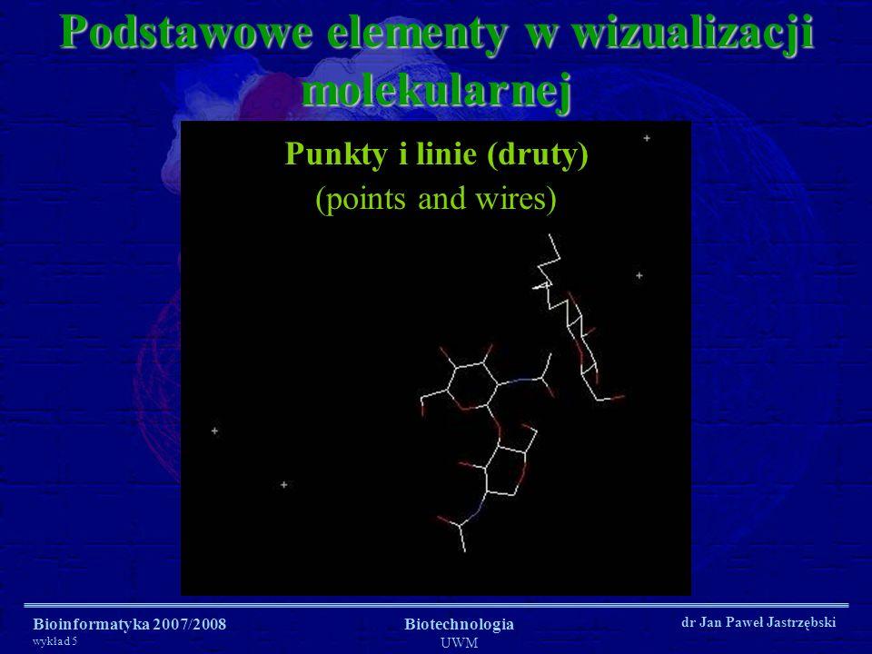 Bioinformatyka 2007/2008 wykład 5 Biotechnologia UWM dr Jan Paweł Jastrzębski Podstawowe elementy w wizualizacji molekularnej Punkty i linie (druty) (