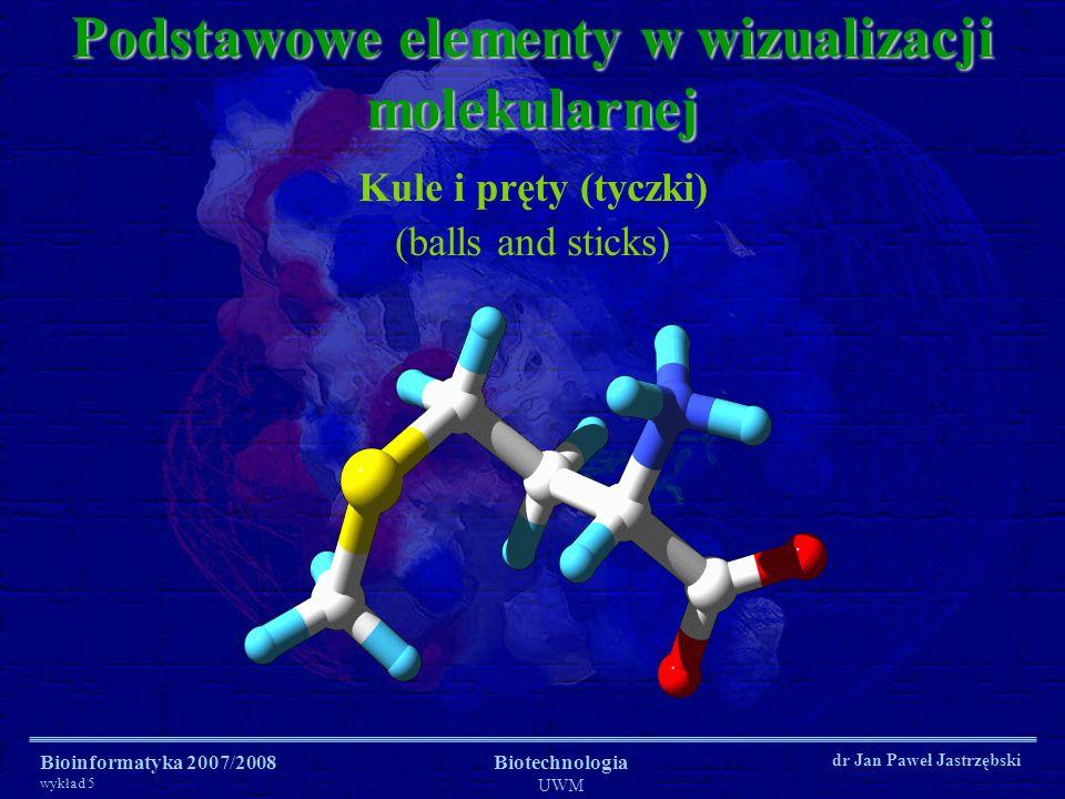 Bioinformatyka 2007/2008 wykład 5 Biotechnologia UWM dr Jan Paweł Jastrzębski Podstawowe elementy w wizualizacji molekularnej Kule i pręty (tyczki) (b