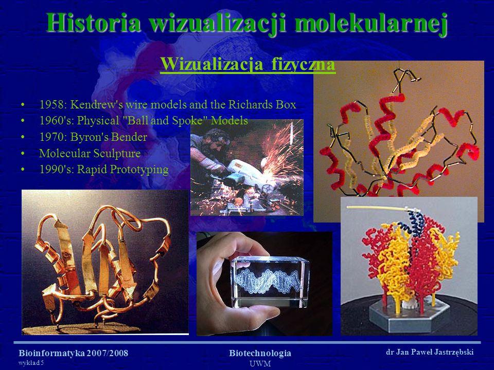 Bioinformatyka 2007/2008 wykład 5 Biotechnologia UWM dr Jan Paweł Jastrzębski Historia wizualizacji molekularnej Wizualizacja fizyczna 1958: Kendrew's