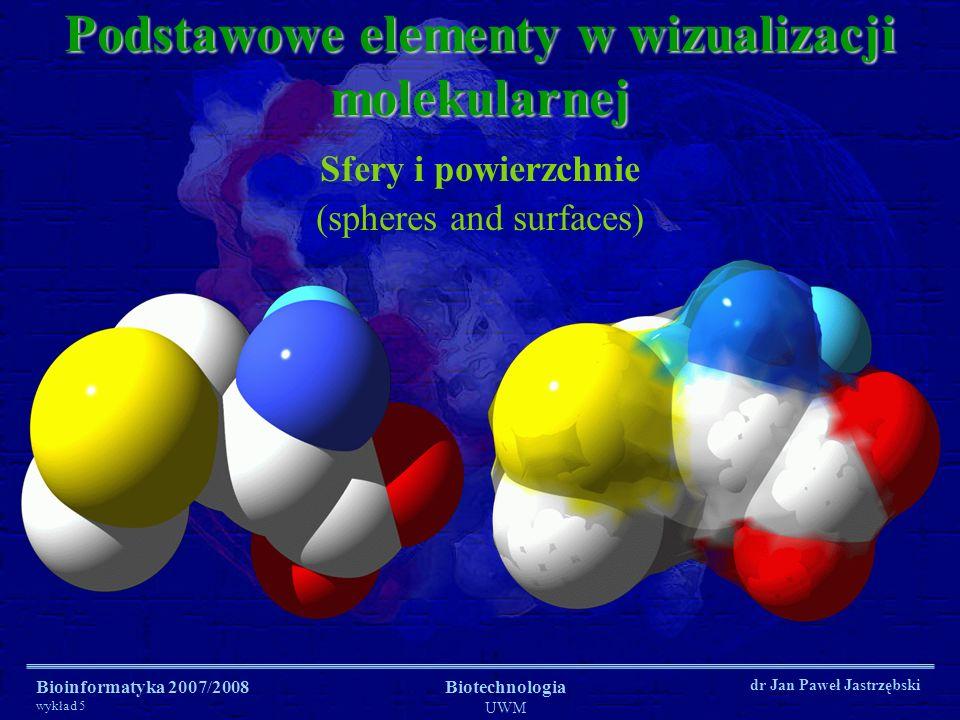 Bioinformatyka 2007/2008 wykład 5 Biotechnologia UWM dr Jan Paweł Jastrzębski Podstawowe elementy w wizualizacji molekularnej Sfery i powierzchnie (spheres and surfaces)