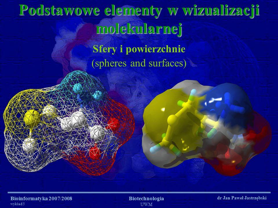 Bioinformatyka 2007/2008 wykład 5 Biotechnologia UWM dr Jan Paweł Jastrzębski Podstawowe elementy w wizualizacji molekularnej Sfery i powierzchnie (sp