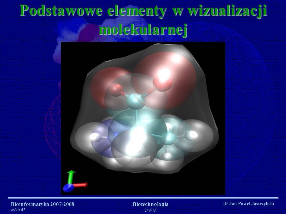 Bioinformatyka 2007/2008 wykład 5 Biotechnologia UWM dr Jan Paweł Jastrzębski Podstawowe elementy w wizualizacji molekularnej Wstążki i nici (ribbons and coils)