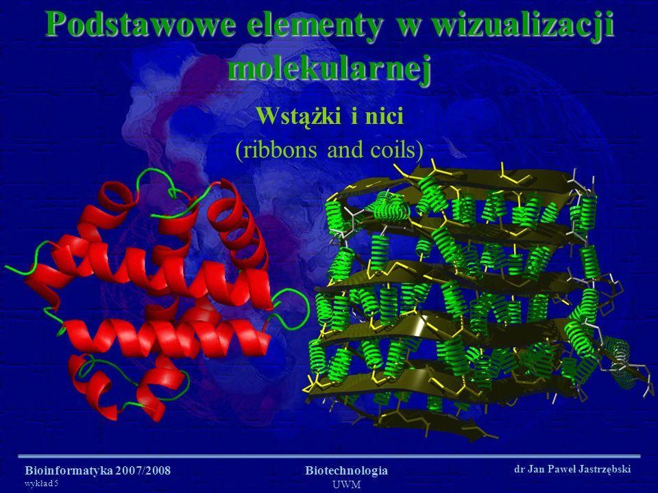 Bioinformatyka 2007/2008 wykład 5 Biotechnologia UWM dr Jan Paweł Jastrzębski Podstawowe elementy w wizualizacji molekularnej Wstążki i nici (ribbons