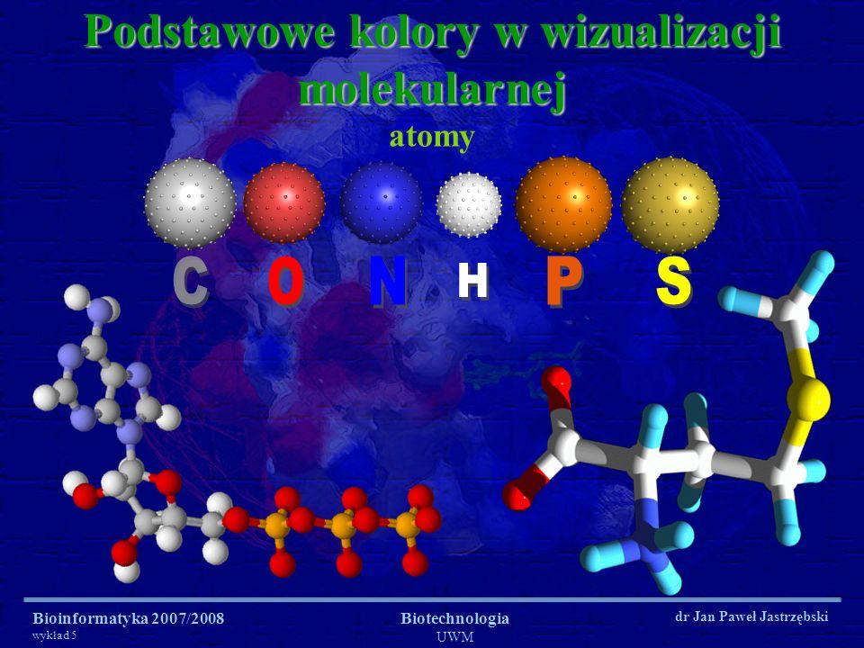 Bioinformatyka 2007/2008 wykład 5 Biotechnologia UWM dr Jan Paweł Jastrzębski Podstawowe kolory w wizualizacji molekularnej atomy