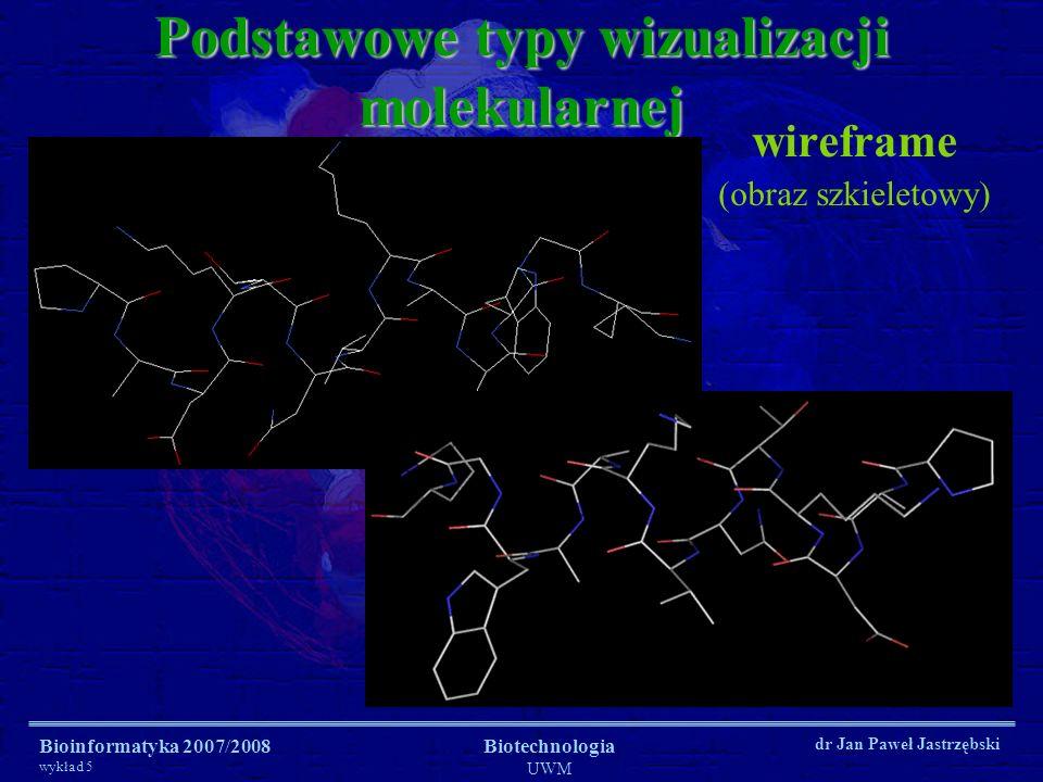 Bioinformatyka 2007/2008 wykład 5 Biotechnologia UWM dr Jan Paweł Jastrzębski Podstawowe typy wizualizacji molekularnej wireframe (obraz szkieletowy)
