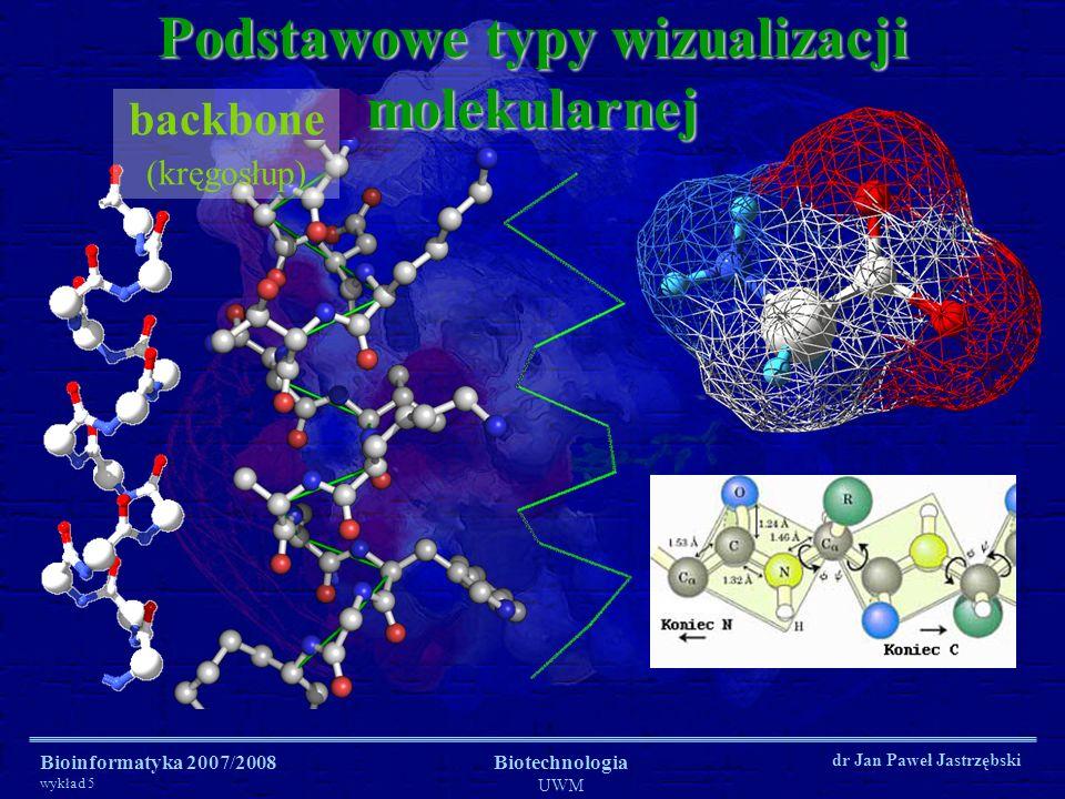 Bioinformatyka 2007/2008 wykład 5 Biotechnologia UWM dr Jan Paweł Jastrzębski Podstawowe typy wizualizacji molekularnej sticks (pręty – wiązania chemiczne)