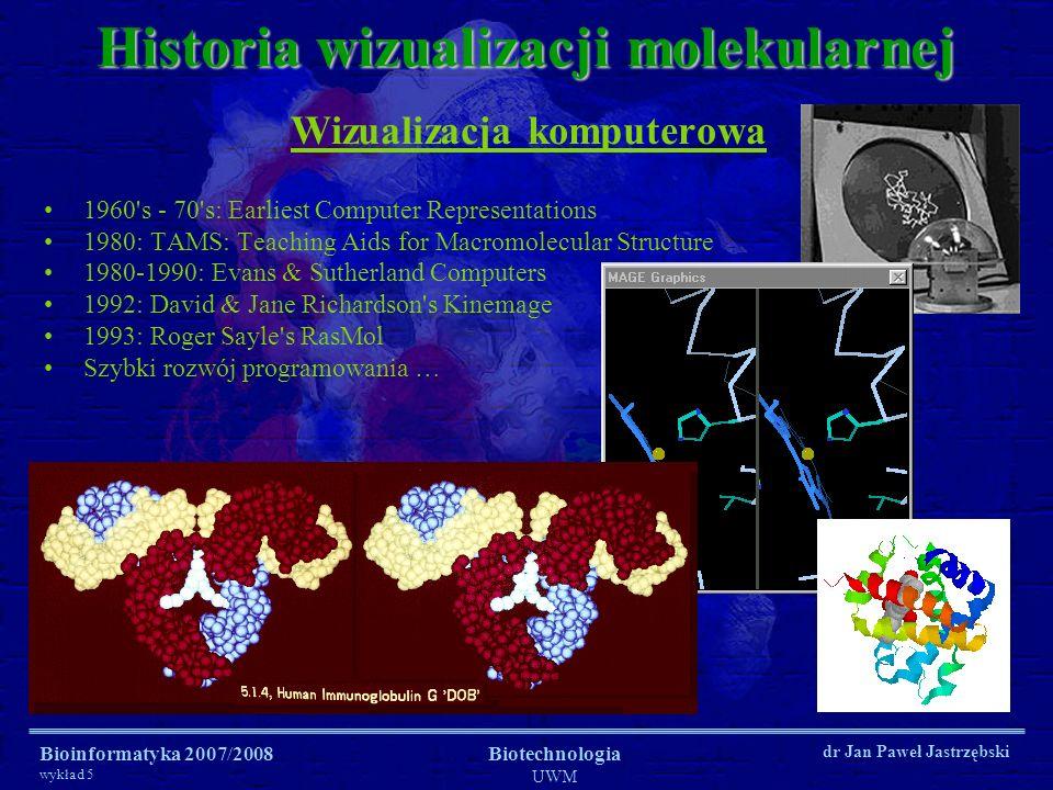 Bioinformatyka 2007/2008 wykład 5 Biotechnologia UWM dr Jan Paweł Jastrzębski Historia wizualizacji molekularnej Wizualizacja komputerowa 1960's - 70'