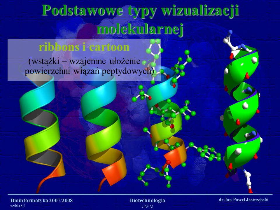 Bioinformatyka 2007/2008 wykład 5 Biotechnologia UWM dr Jan Paweł Jastrzębski Podstawowe typy wizualizacji molekularnej ribbons i cartoon (wstążki – w