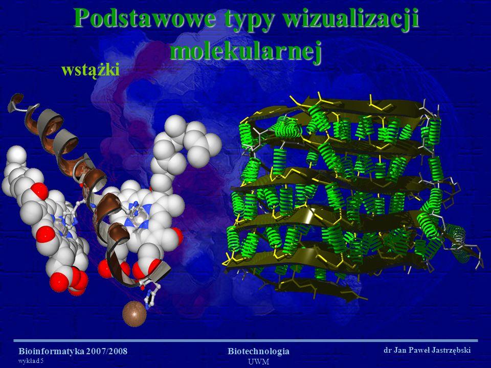 Bioinformatyka 2007/2008 wykład 5 Biotechnologia UWM dr Jan Paweł Jastrzębski Podstawowe typy wizualizacji molekularnej spacefill (kule / sfery oddziaływać sił Van der Waalsa - VDW)