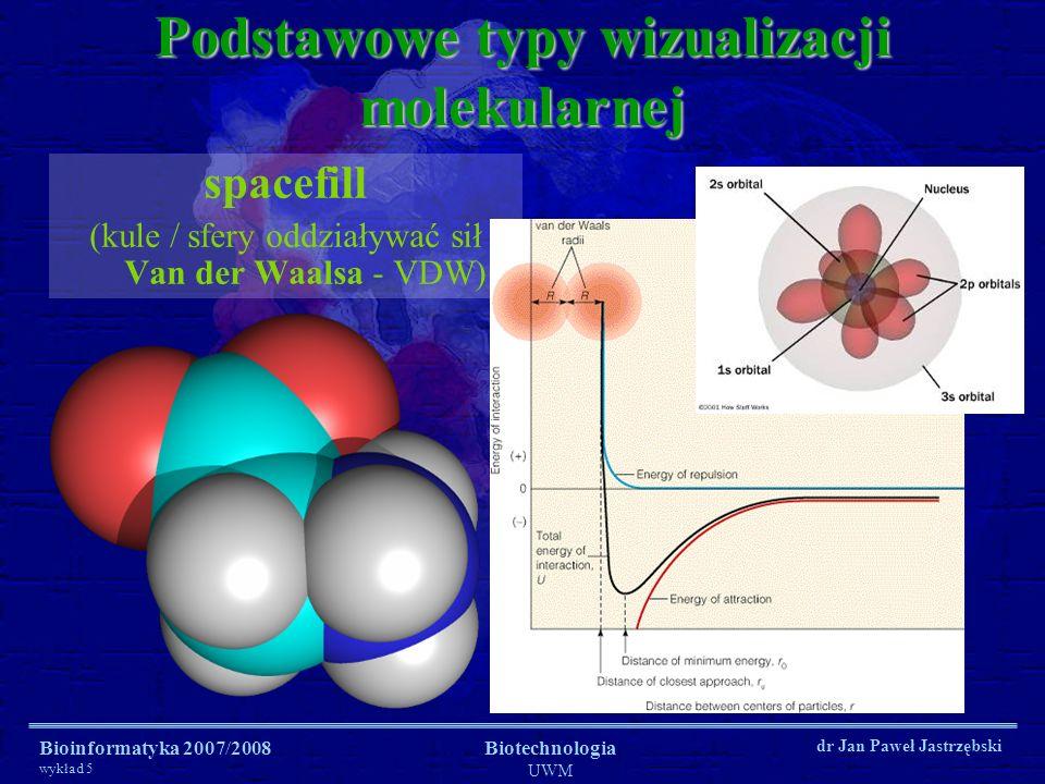 Bioinformatyka 2007/2008 wykład 5 Biotechnologia UWM dr Jan Paweł Jastrzębski Podstawowe typy wizualizacji molekularnej spacefill (kule / sfery oddzia