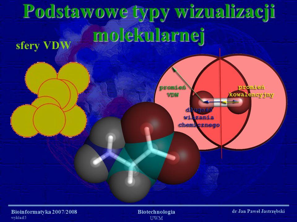 Bioinformatyka 2007/2008 wykład 5 Biotechnologia UWM dr Jan Paweł Jastrzębski sfery VDW Podstawowe typy wizualizacji molekularnej