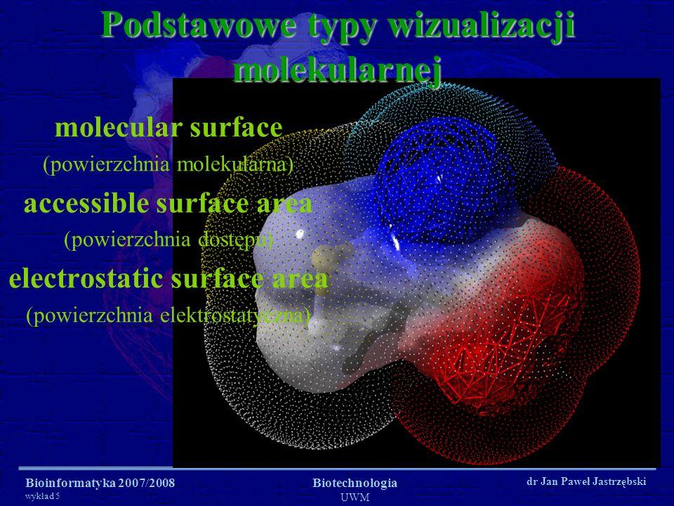 Bioinformatyka 2007/2008 wykład 5 Biotechnologia UWM dr Jan Paweł Jastrzębski Programy do wizualizacji, renderingu i modelowania RasMol