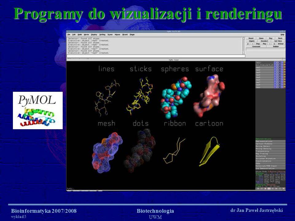 Bioinformatyka 2007/2008 wykład 5 Biotechnologia UWM dr Jan Paweł Jastrzębski Programy do wizualizacji i renderingu