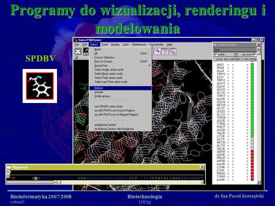 Bioinformatyka 2007/2008 wykład 5 Biotechnologia UWM dr Jan Paweł Jastrzębski Programy do wizualizacji i renderingu PovRay