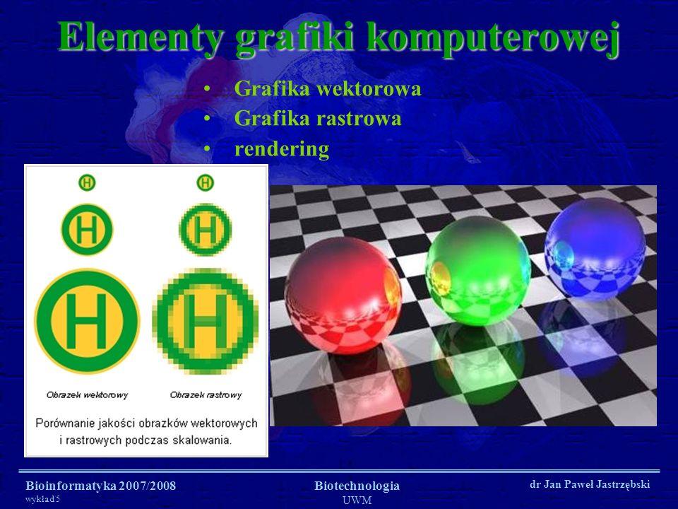 Bioinformatyka 2007/2008 wykład 5 Biotechnologia UWM dr Jan Paweł Jastrzębski Grafika wektorowa (obiektowa) Opisanie obrazu za pomocą prostych figur geometrycznych - prymitywów; polega na generowaniu obrazu na podstawie jego matematycznego opisu, który określa pozycję, długość i kierunek prowadzonych linii.
