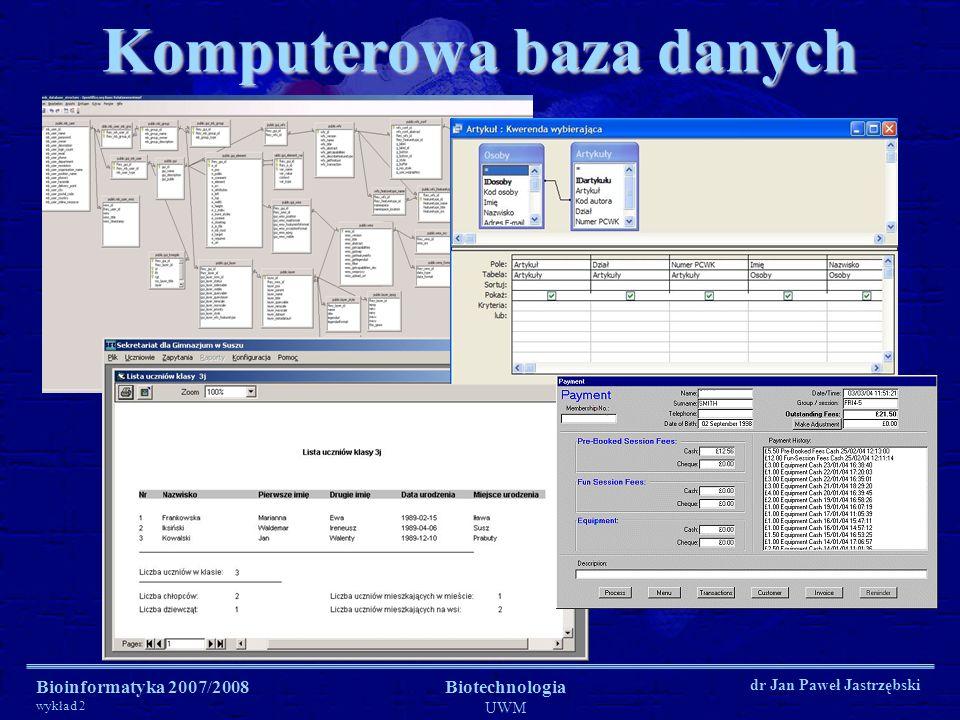 Bioinformatyka 2007/2008 wykład 2 Biotechnologia UWM dr Jan Paweł Jastrzębski Komputerowa baza danych