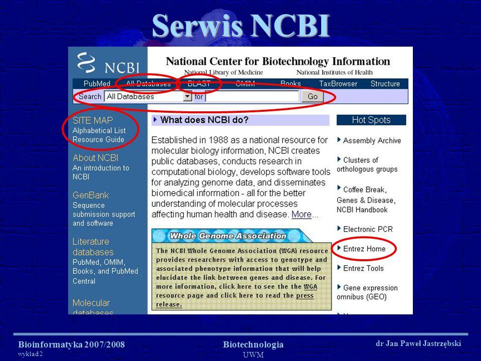 Bioinformatyka 2007/2008 wykład 2 Biotechnologia UWM dr Jan Paweł Jastrzębski Serwis NCBI
