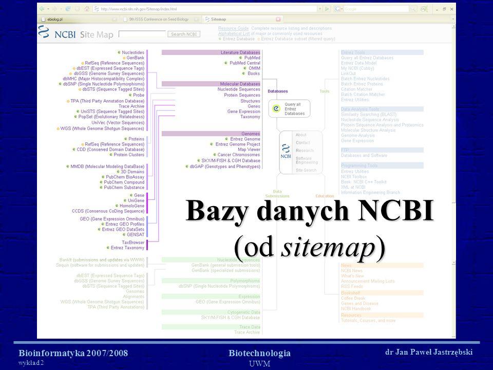 Bioinformatyka 2007/2008 wykład 2 Biotechnologia UWM dr Jan Paweł Jastrzębski Bazy danych NCBI (od sitemap)