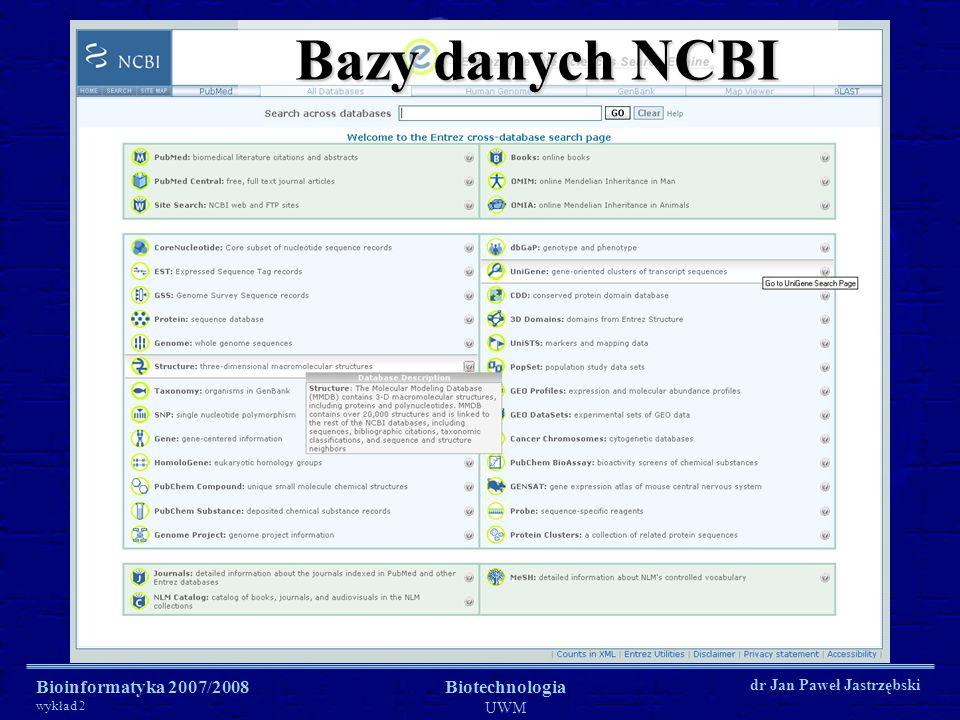 Bioinformatyka 2007/2008 wykład 2 Biotechnologia UWM dr Jan Paweł Jastrzębski Bazy danych NCBI