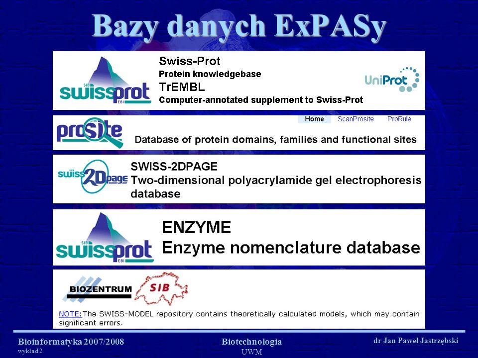 Bioinformatyka 2007/2008 wykład 2 Biotechnologia UWM dr Jan Paweł Jastrzębski Bazy danych ExPASy