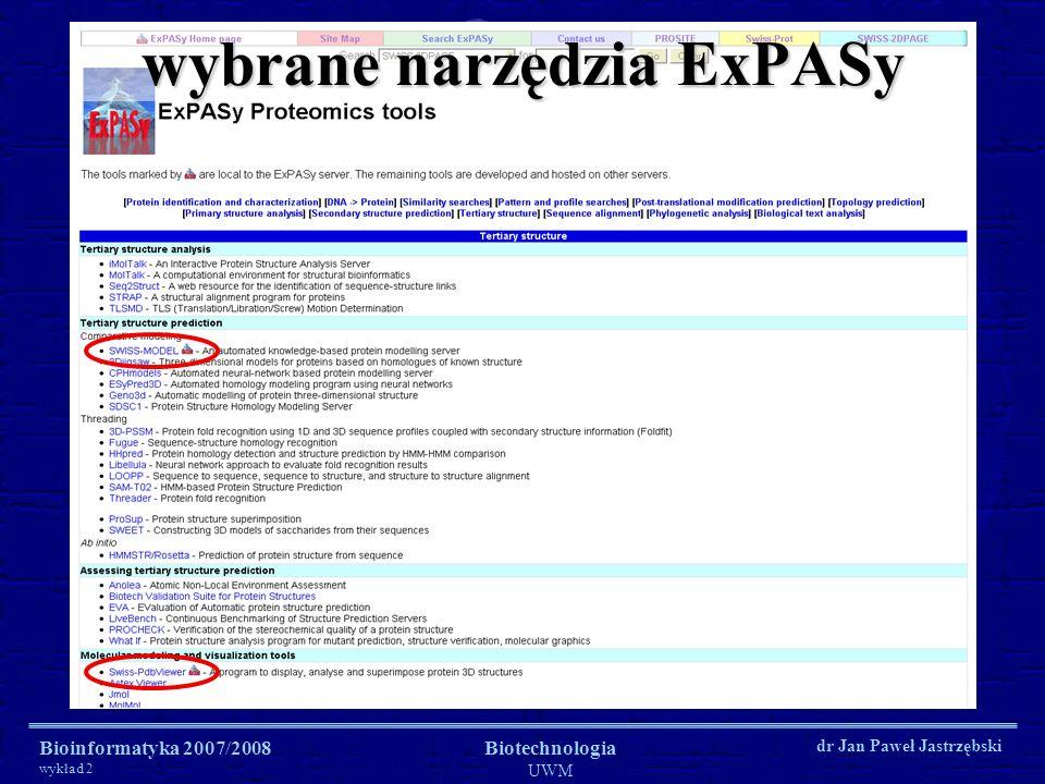 Bioinformatyka 2007/2008 wykład 2 Biotechnologia UWM dr Jan Paweł Jastrzębski wybrane narzędzia ExPASy