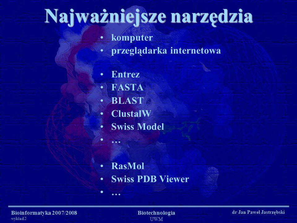Bioinformatyka 2007/2008 wykład 2 Biotechnologia UWM dr Jan Paweł Jastrzębski Najważniejsze narzędzia komputer przeglądarka internetowa Entrez FASTA B