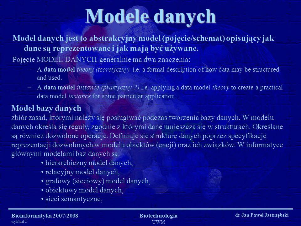Bioinformatyka 2007/2008 wykład 2 Biotechnologia UWM dr Jan Paweł Jastrzębski Modele danych Model danych jest to abstrakcyjny model (pojęcie/schemat)