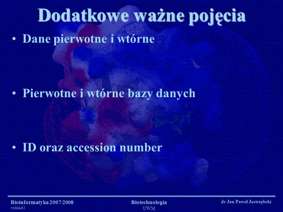 Bioinformatyka 2007/2008 wykład 2 Biotechnologia UWM dr Jan Paweł Jastrzębski Dodatkowe ważne pojęcia Dane pierwotne i wtórne Pierwotne i wtórne bazy
