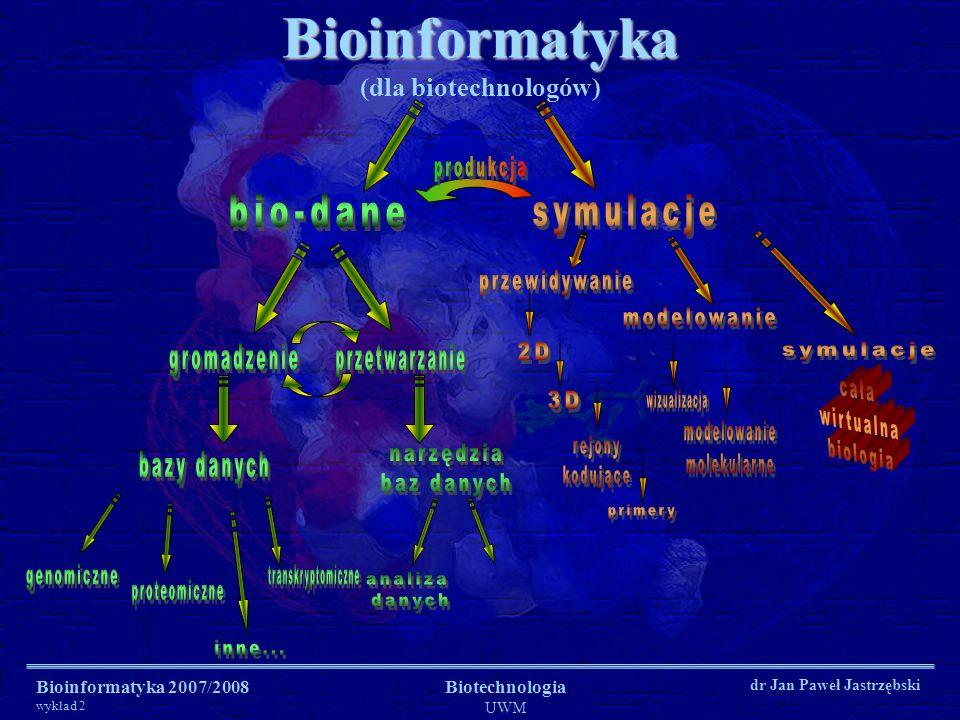Bioinformatyka 2007/2008 wykład 2 Biotechnologia UWM dr Jan Paweł Jastrzębski Bioinformatyka Bioinformatyka (dla biotechnologów)