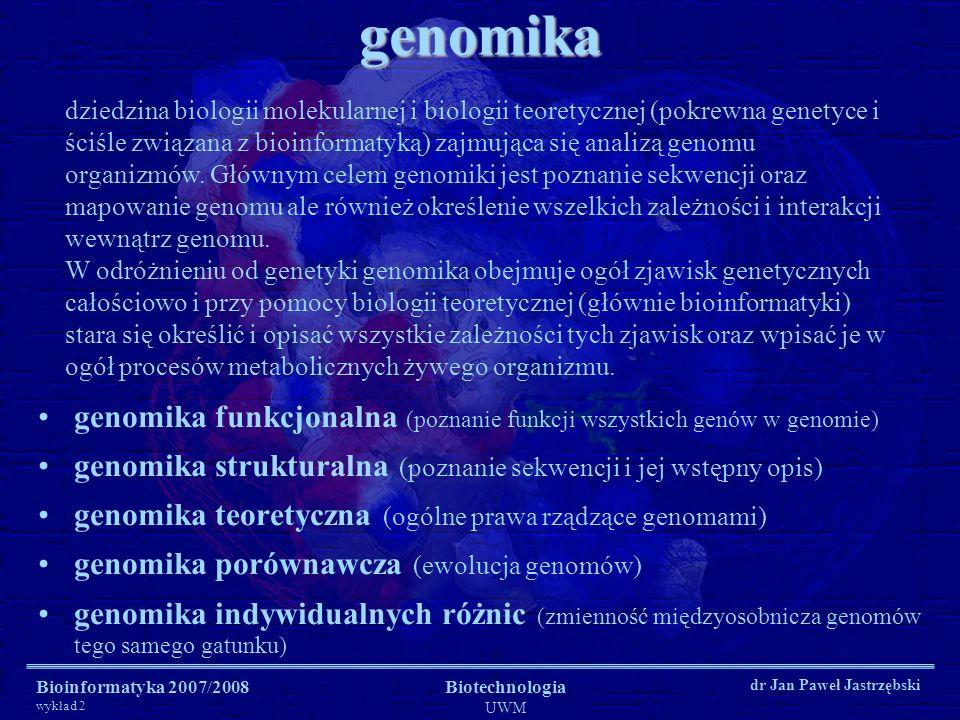 Bioinformatyka 2007/2008 wykład 2 Biotechnologia UWM dr Jan Paweł Jastrzębskigenomika genomika funkcjonalna (poznanie funkcji wszystkich genów w genom