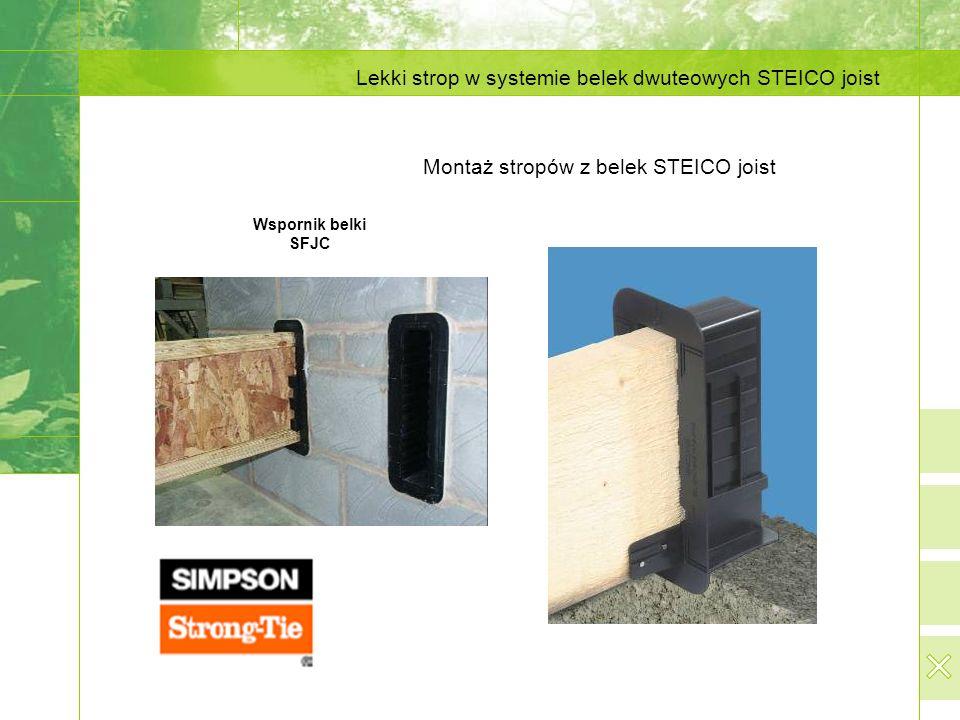 Lekki strop w systemie belek dwuteowych STEICO joist Montaż stropów z belek STEICO joist Wspornik belki SFJC