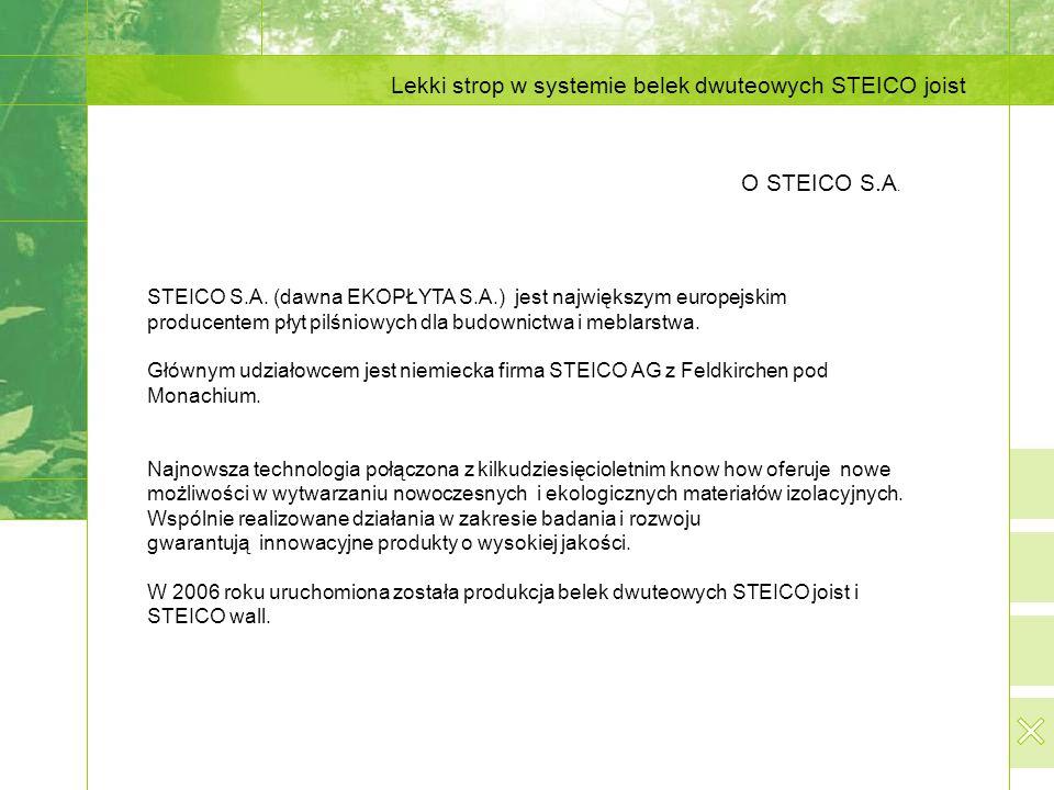 Lekki strop w systemie belek dwuteowych STEICO joist O STEICO S.A. STEICO S.A. (dawna EKOPŁYTA S.A.) jest największym europejskim producentem płyt pil