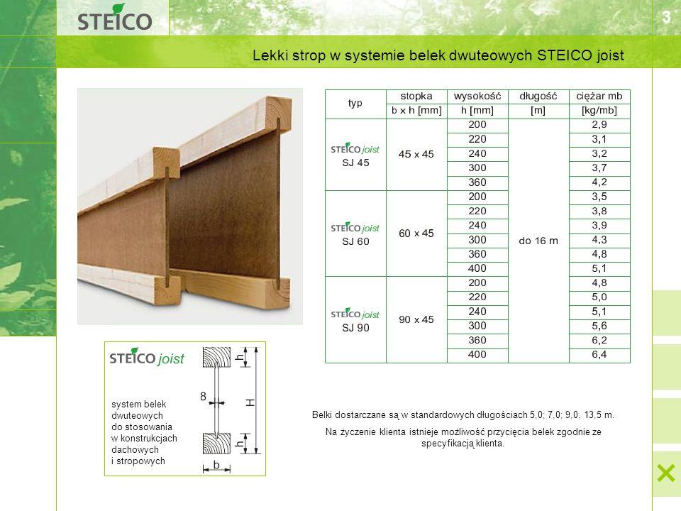 3 system belek dwuteowych do stosowania w konstrukcjach dachowych i stropowych Lekki strop w systemie belek dwuteowych STEICO joist Belki dostarczane