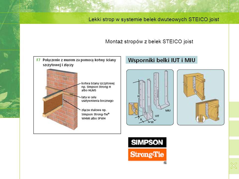 Lekki strop w systemie belek dwuteowych STEICO joist Montaż stropów z belek STEICO joist